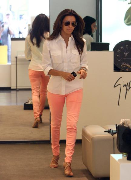 Celebrity Style - Eva Longoria Wears Sherbet Colored Skinny Jeans ...