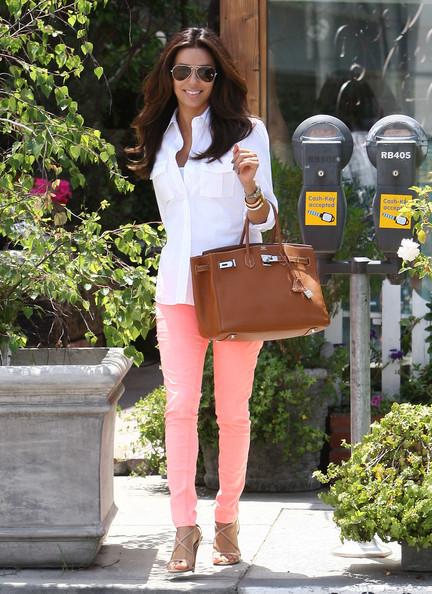 Celebrity Style Eva Longoria Wears Sherbet Colored Skinny Jeans Fashion Trend Seeker