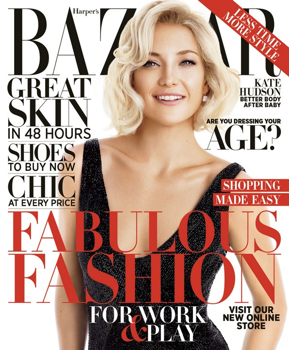 Kate Hudson Shows Off Short Bob Hairstyle On The Cover Of October Harper S Bazaar Fashion Trend Seeker