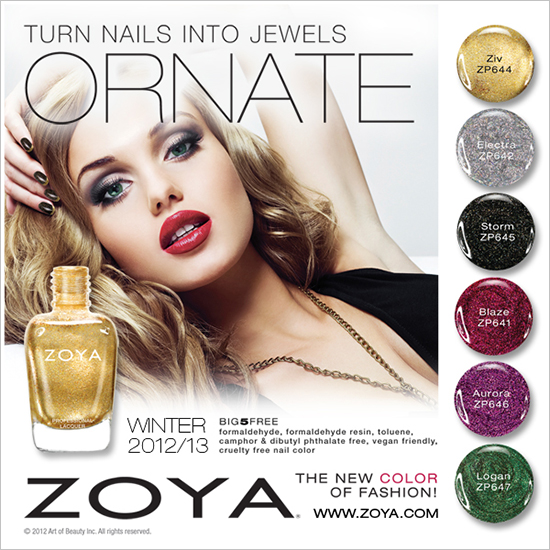 Zoya Holiday 2012: 18K Gold Top Coat + Ornate Collection