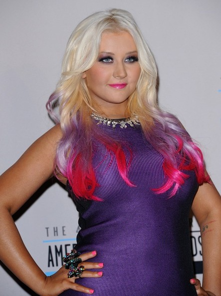 Christina Aguilera Debuts Purple and Pink Dip-Dyed Ombre Hair Color