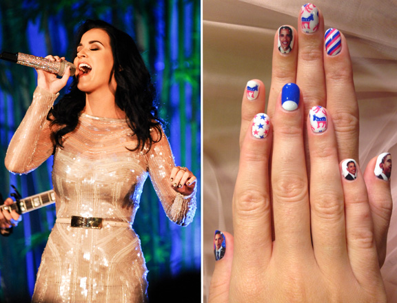 Celebrity Nails Katy Perry Shows Off Election Nails From Minxs