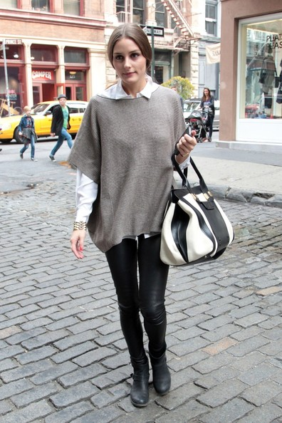 Celebrity Style – Olivia Palermo Spotted in Two Fall Trends – Leather Pants and Oversized Sweater