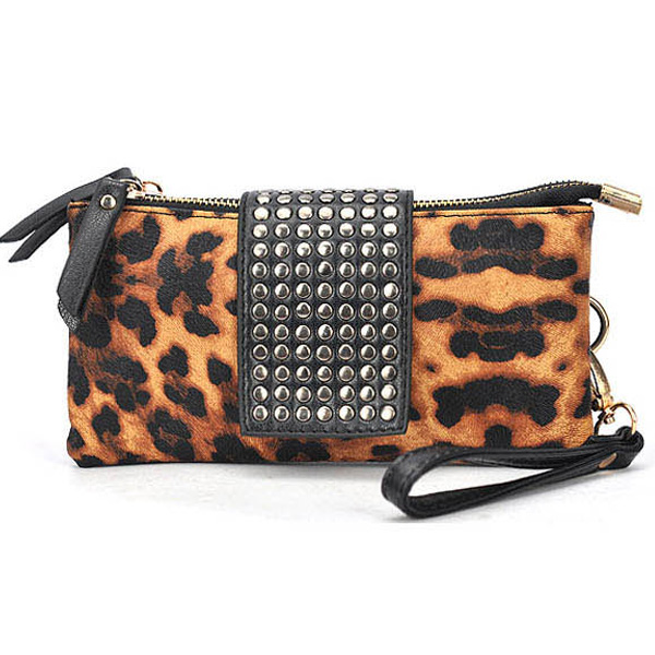 Animal Print Clutch Purse With Stud Details