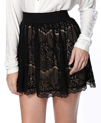 Forever 21 Black and Nude Lace Skirt