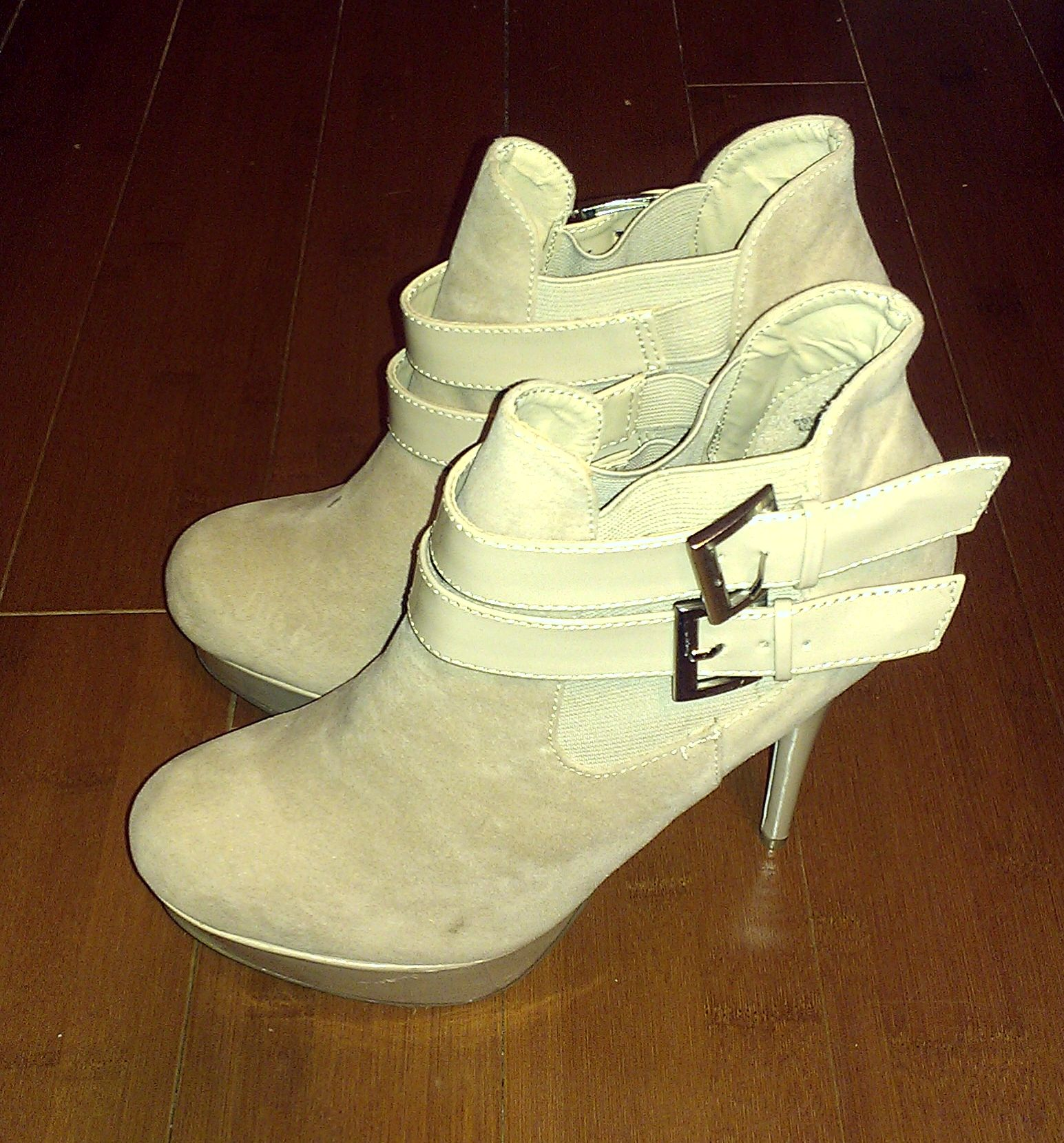 Just Fab Nude Platform Booties