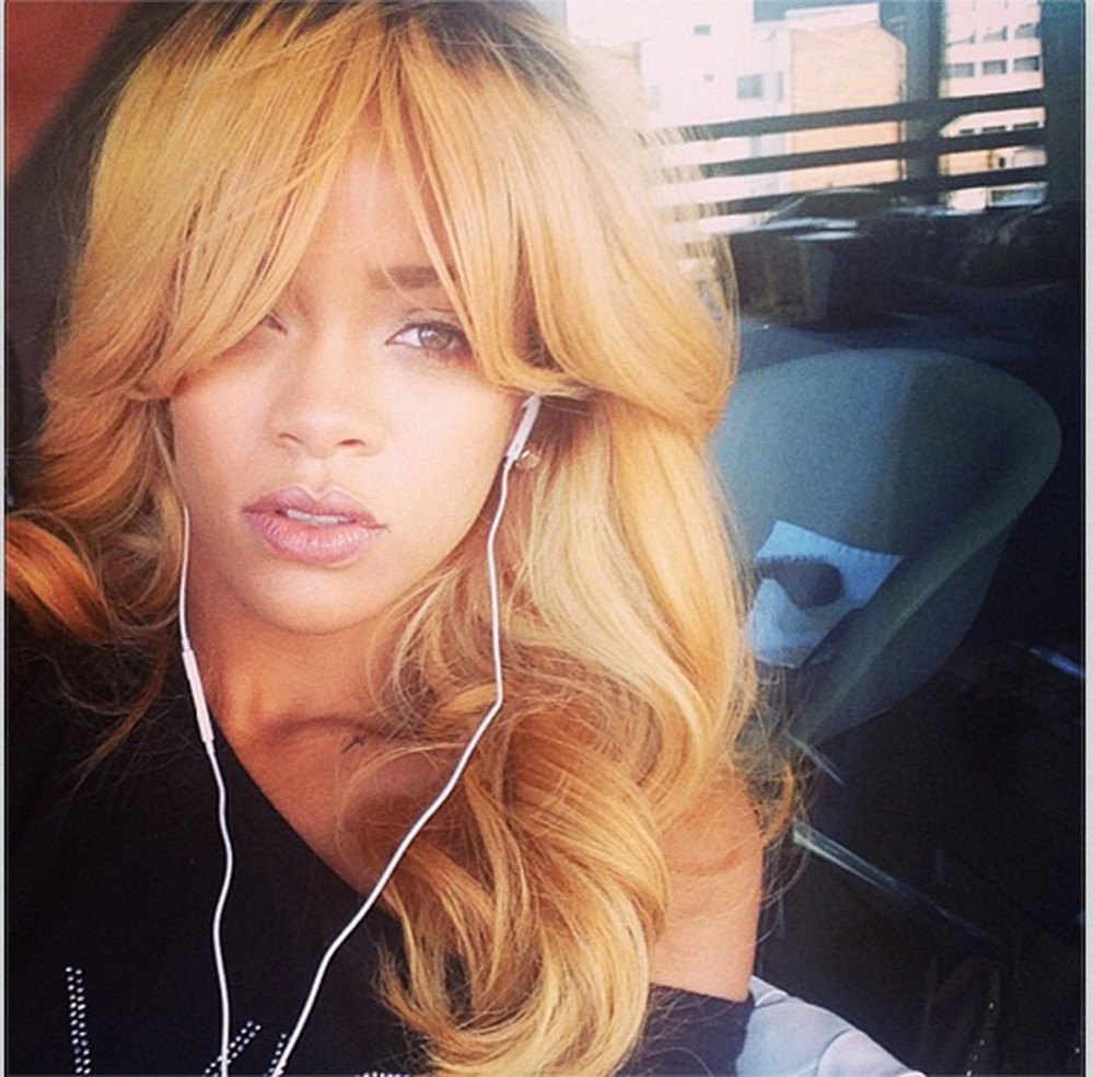 Rihanna Goes Fully Blonde With Bangs and All