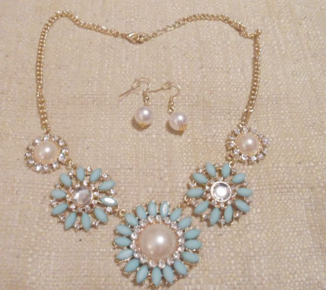 Mint Green Floral Necklace With Earrings 4