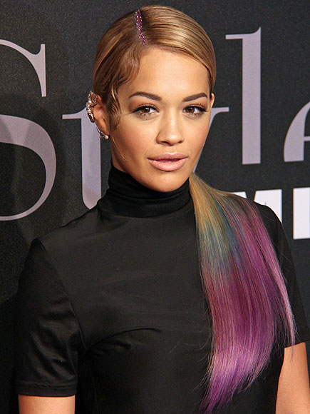 Rita Ora Shows Off More Of Her Rainbow Colored Ponytail