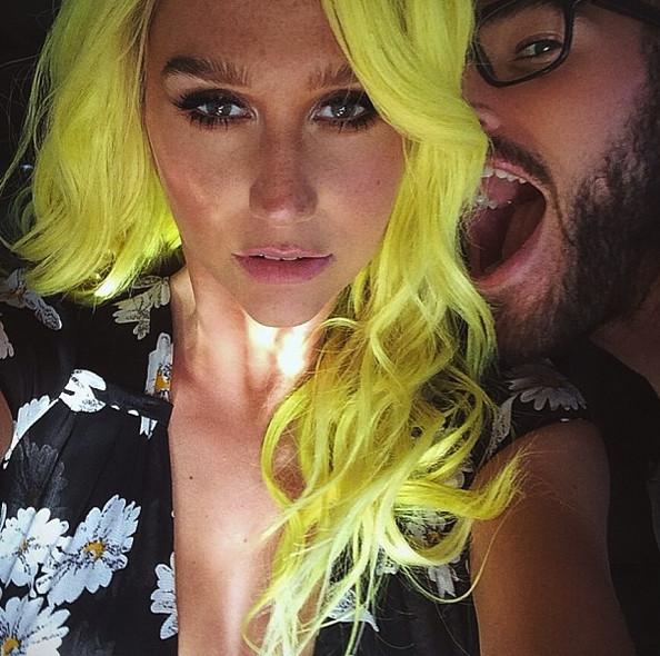 Kesha's Latest Hair Changes Rainbow Strands & Bold Yellow Hair Color