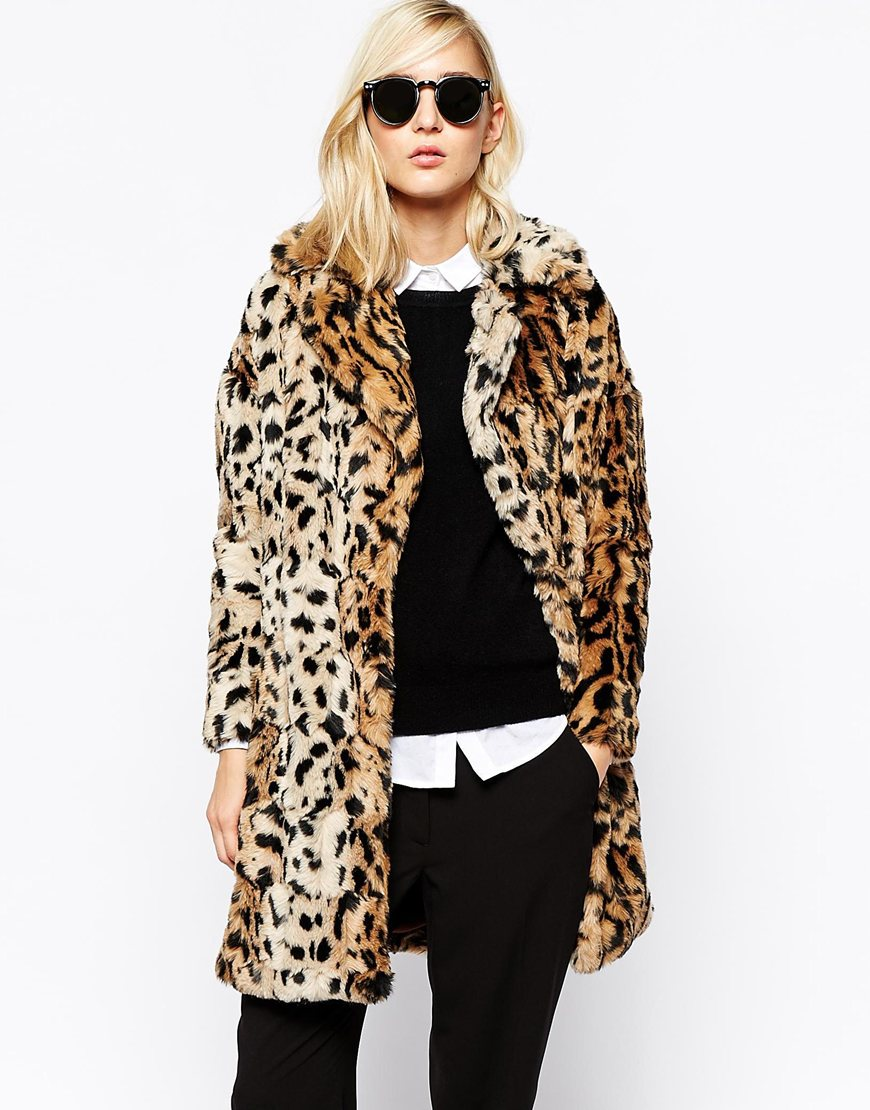 Leopard Print Fur Coat River Island