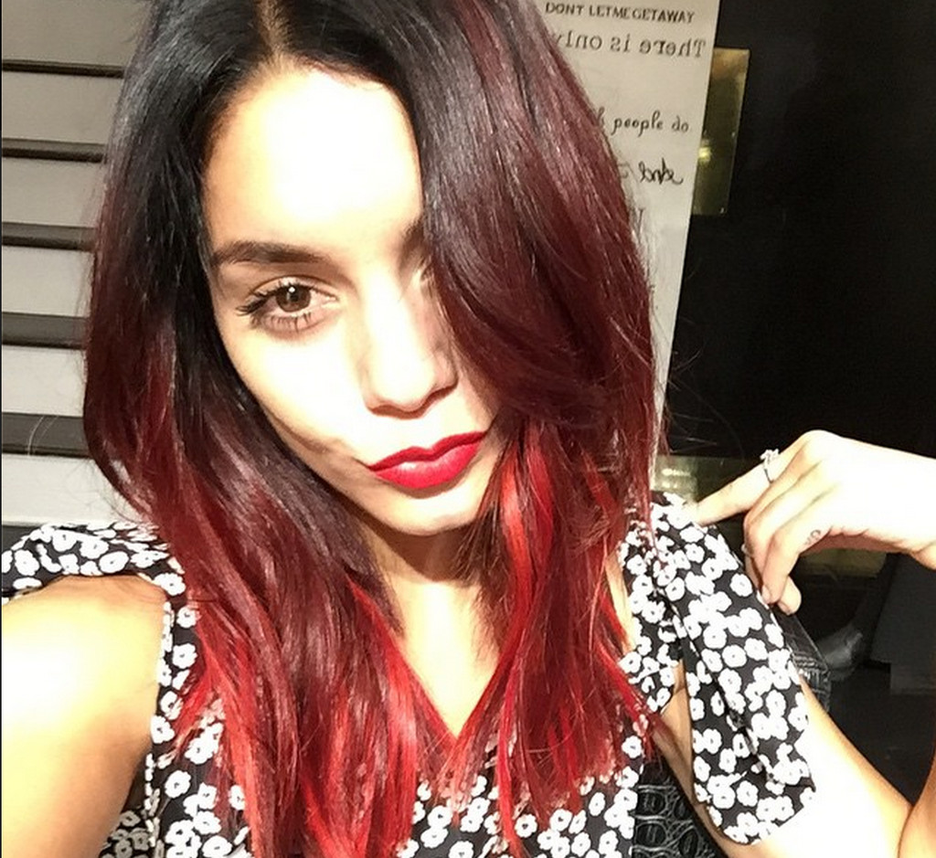 Vanessa Hudgens Debuts New Bold Red Ombre Hair Color