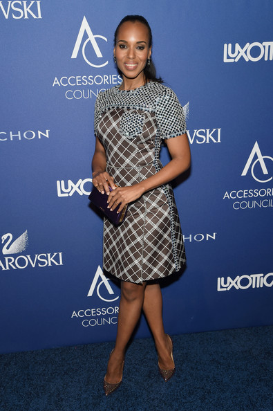 Kerry Washington Rocks Flirty Ponytail and Prada to the 2014 Accessories Council ACE Awards