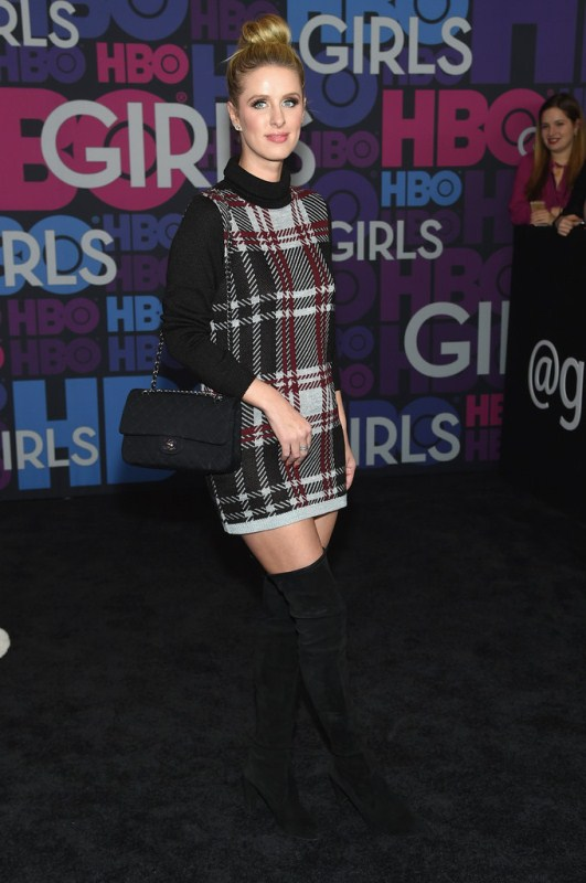 Celebrity Style - Nicky Hilton in Plaid Turtleneck Sweater Dress 3