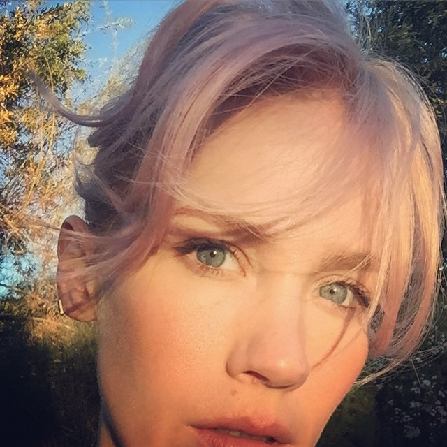 January Jones Goes Pink With New Hair Color 2