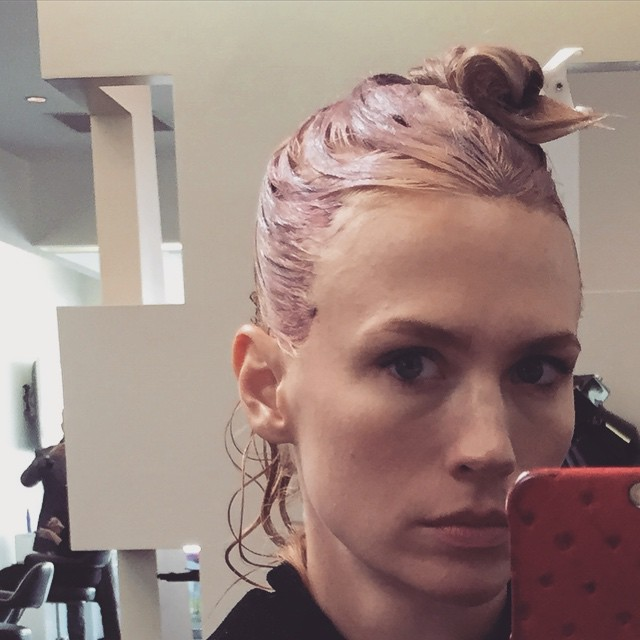 January Jones Goes Pink With New Hair Color