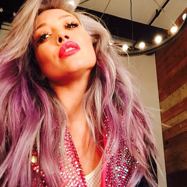 Hilary Duff Takes Things Up A Notch With New Pink & Gray Hair Color