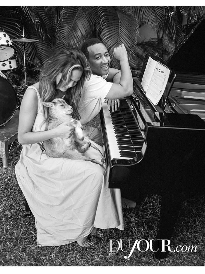 Chrissy Teigen & John Legend Get Kissy For DuJour Magazine 2