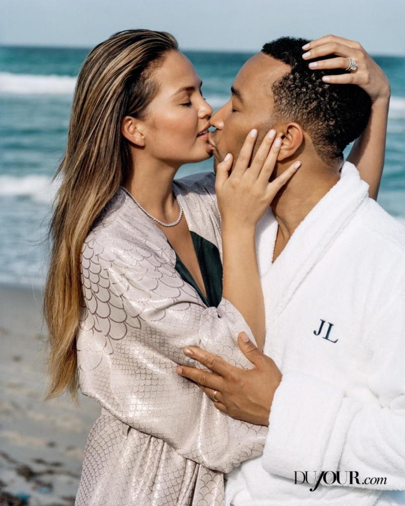 Chrissy Teigen & John Legend Get Kissy For DuJour Magazine 6