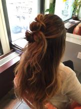 Hairstyle How-To Half-Up Double Knot 3