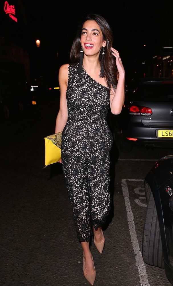Amal Clooney Gets Romantic In Lace Jumpsuit With A POP 3
