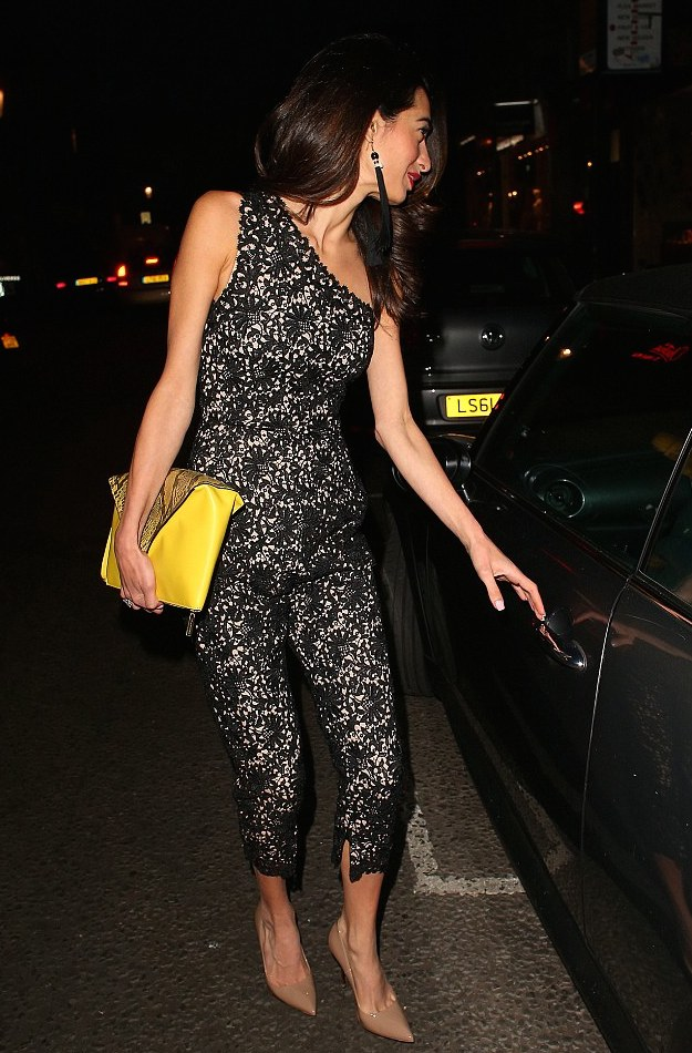 Amal Clooney Gets Romantic In Lace Jumpsuit With A POP 5