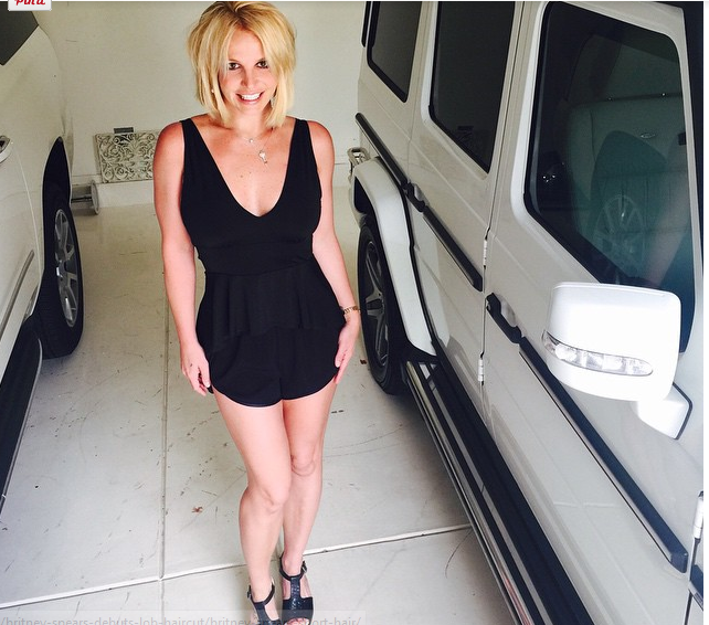 Britney Spears Joins Lob Hair Trend Posts Edgy New Look Via Instagram 2