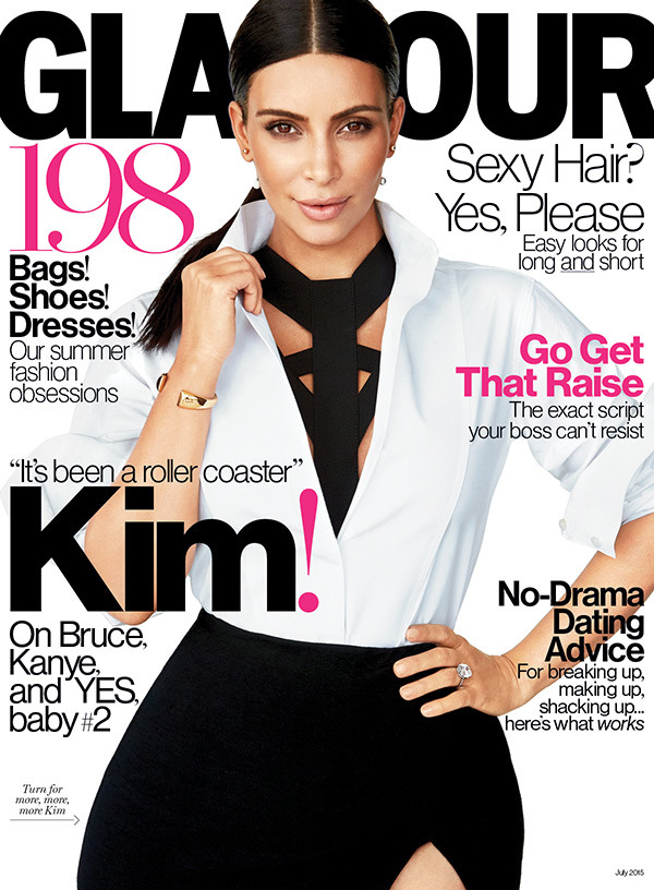 Kim Kardashian West Announces Baby Number 2 & Shares Details In Glamour July 2015 Issue