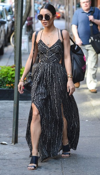 Vanessa Hudgens Spotted In Trendy Black & White Maxi Dress