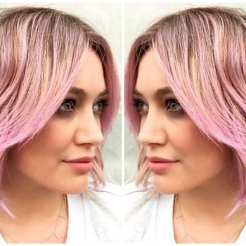 Hilary Duff Debuts Pink Sherbet Hair 2