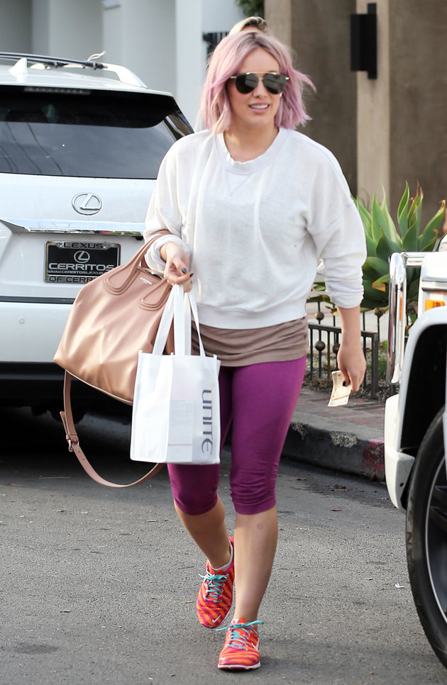51951791 Singer and actress Hilary Duff is spotted at Nine Zero One Hair Salon in West Hollywood, California on January 20, 2016. Hilary recently returned from NYC where she was promoting her TV series 'Younger.' Hilary dyed her hair pink at the popular salon. FameFlynet, Inc - Beverly Hills, CA, USA - +1 (310) 505-9876