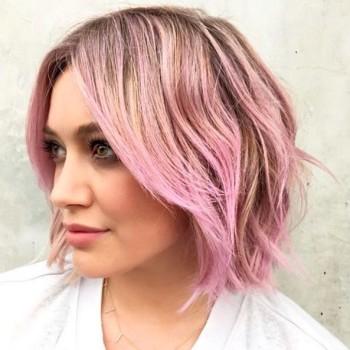 Hilary Duff Debuts Pink Sherbet Hair 3